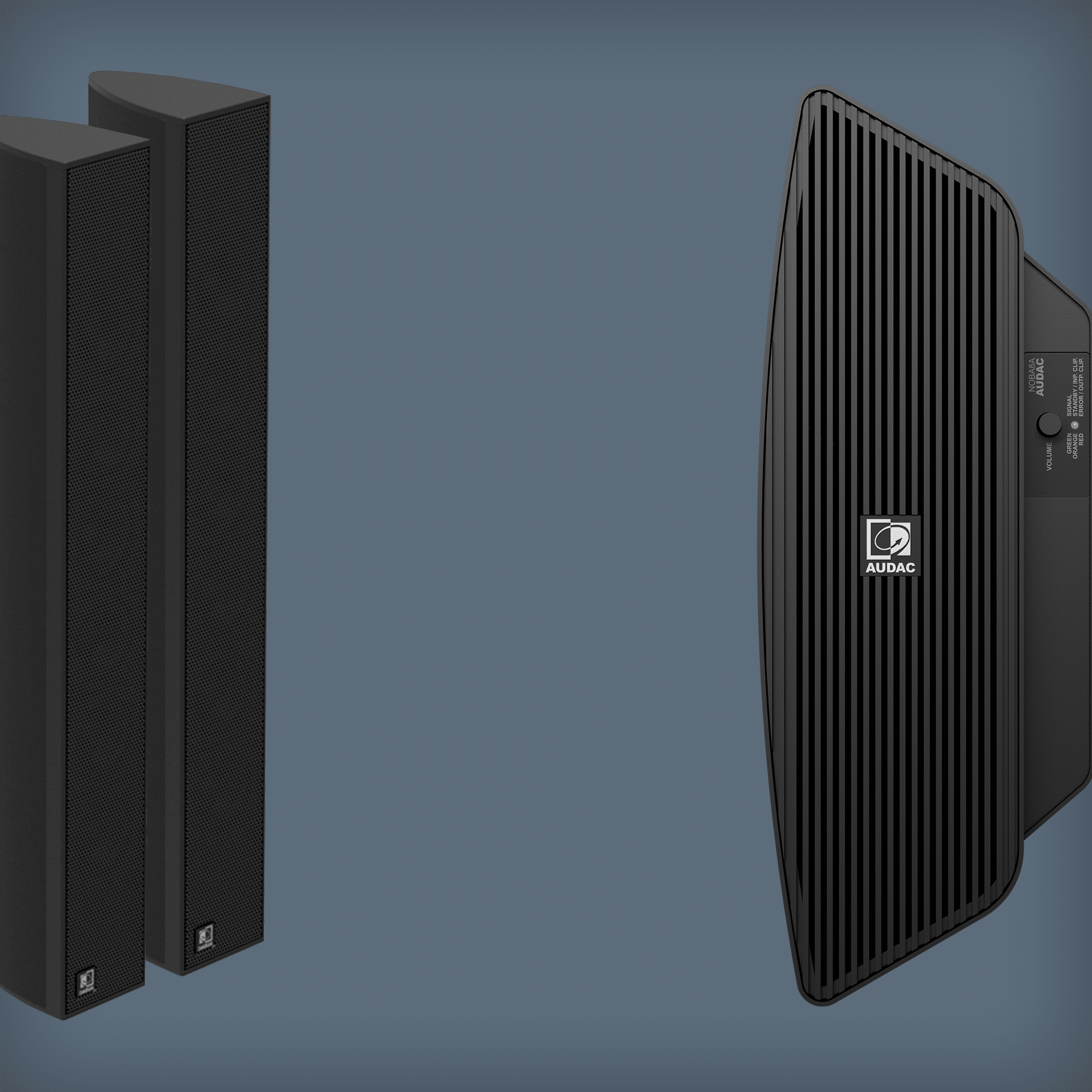 Column speaker solutions with subwoofer -