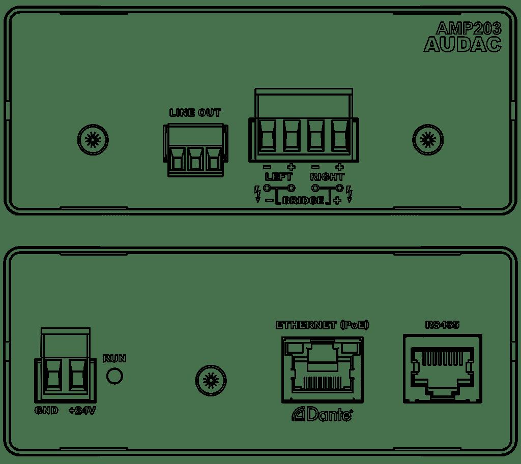 AMP203 - Dante mini stereo amplifier