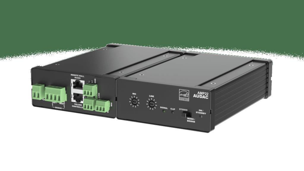 AMP22 - Mini stereo amplifier 2 x 15W - Balanced line & Mic + WP2xx Input