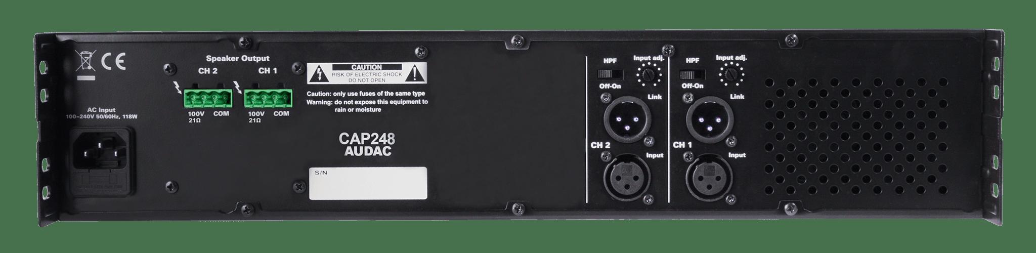 CAP248 - Dual-channel power amplifier 2 x 480W 100V