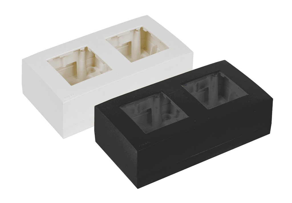 Surface mount box double 45 x 45 mm