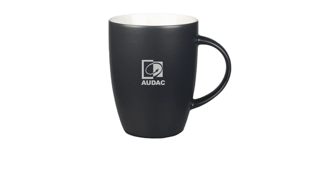PROMO5502 - Coal-colored mug with grey AUDAC logo