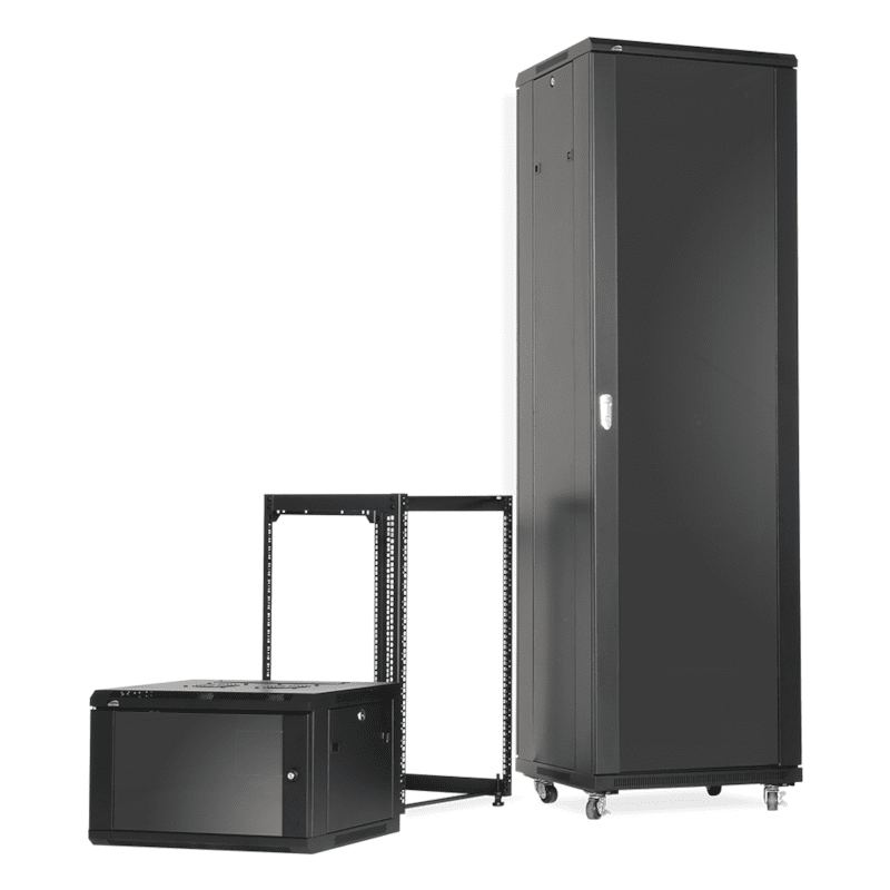 When to choose open frame racks or closed cabinets