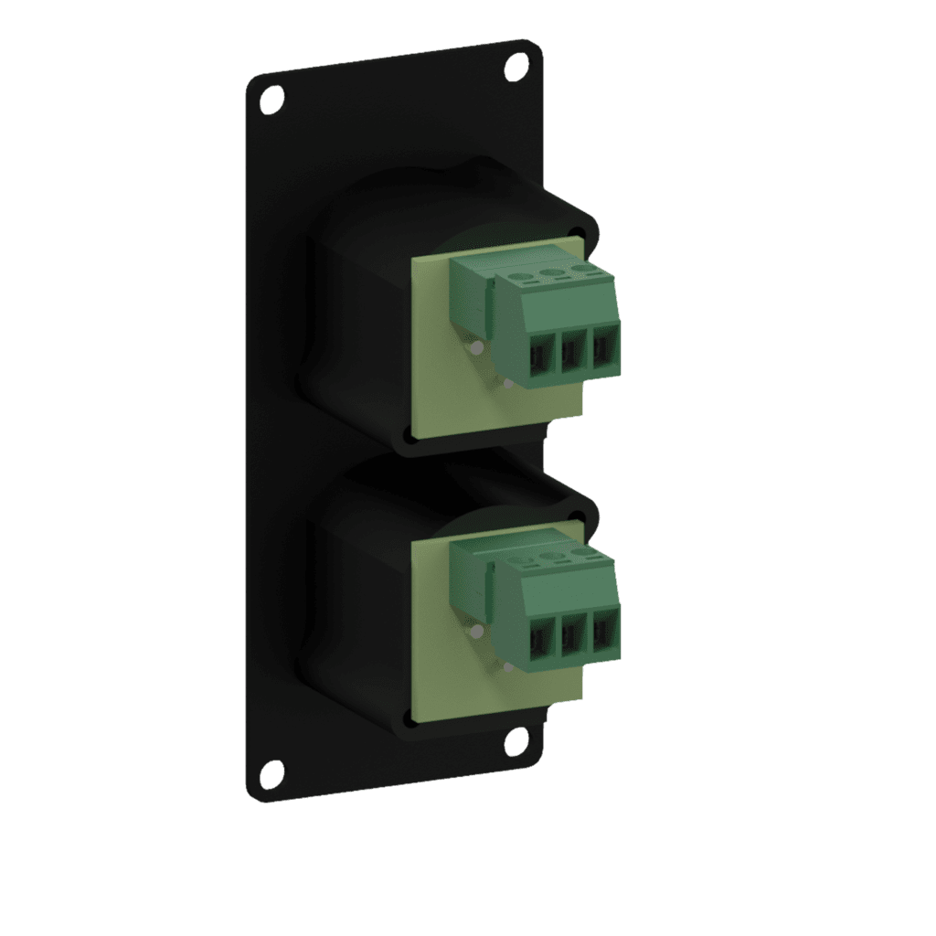 CASY125 - CASY 1 space with 2x XLR female to 3-pin terminal block