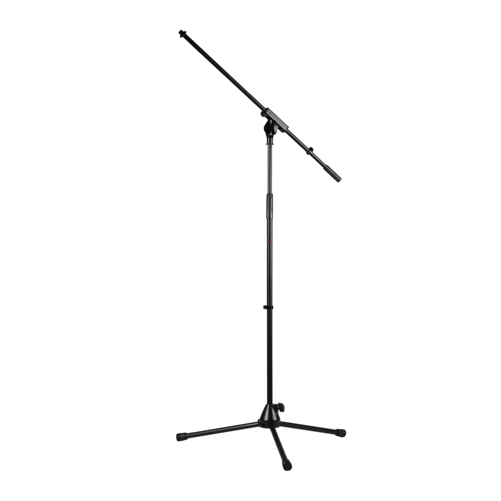 Microphone stand with foldable legs and boom arm
