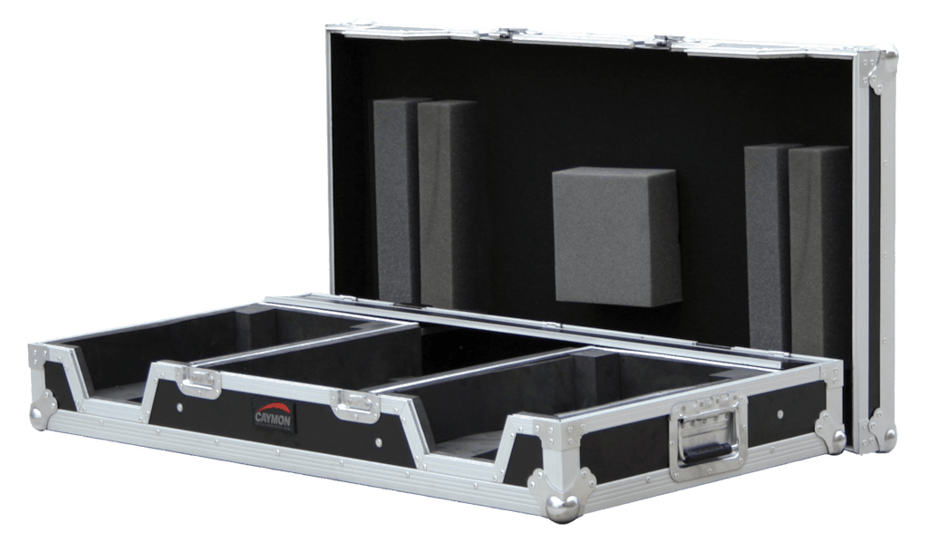 "FCDJ2819 - Professional flight case for 19"" DJ mixer, 2 single CD players with removable top lid"