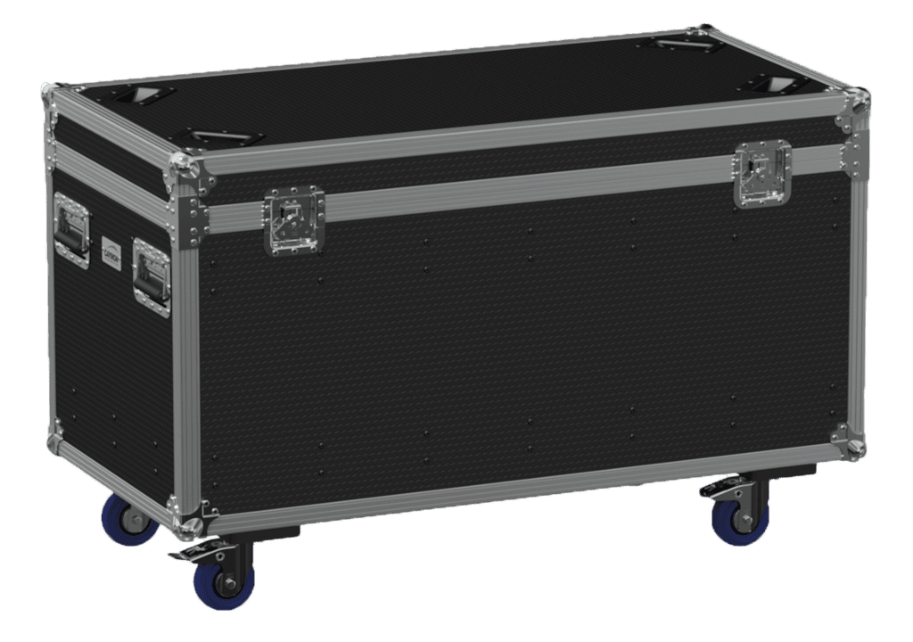 Flight case euro 1200x600x620mm with hinge cover + divider profile - wheels included