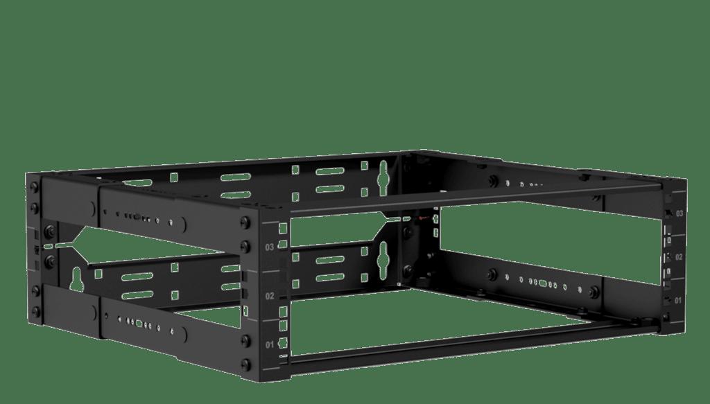 """19"""" in depth adjustable open frame rack - 3 unit - 300 ~ 450mm"""