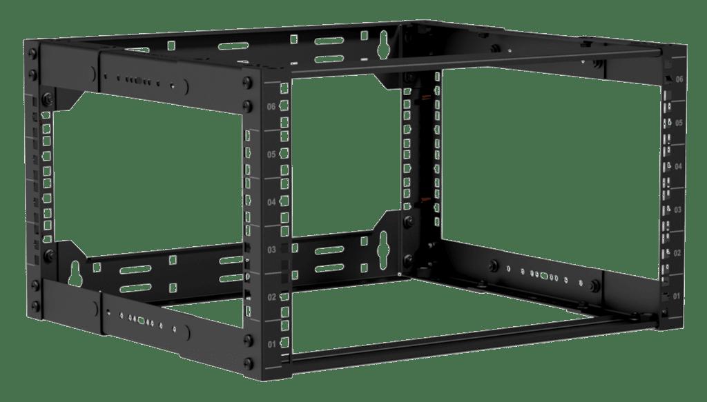 """19"""" in depth adjustable open frame rack - 6 unit - 300 ~ 450mm"""