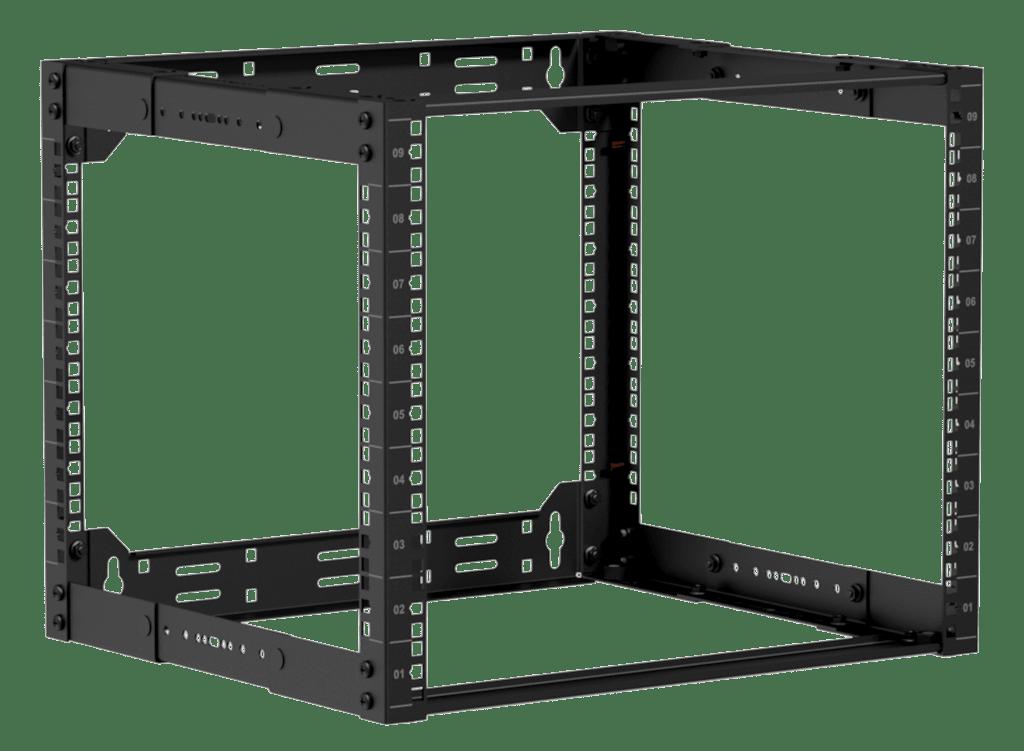 """19"""" in depth adjustable open frame rack - 9 unit - 300 ~ 450mm"""