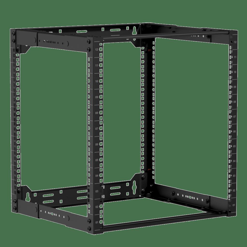 """19"""" in depth adjustable open frame rack - 12 unit - 300 ~ 450mm"""