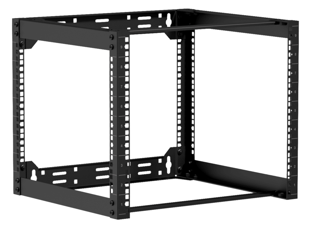 "OPR409 - Wall mounted 19"" open frame rack - 9 unit - 450mm"