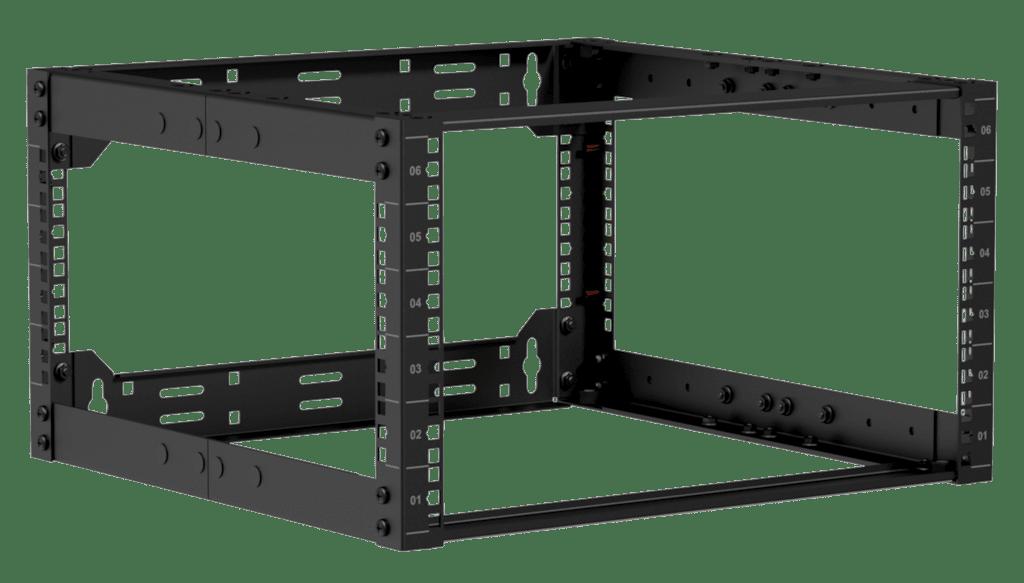 """OPR506A - 19"""" in depth adjustable open frame rack - 6 unit - 500 ~ 700 mm"""
