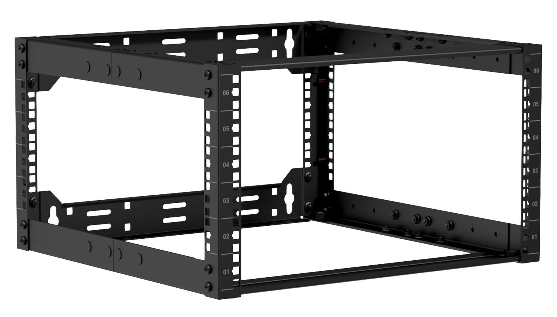 "OPR506A - 19"" in depth adjustable open frame rack - 6 unit - 500 ~ 700 mm"