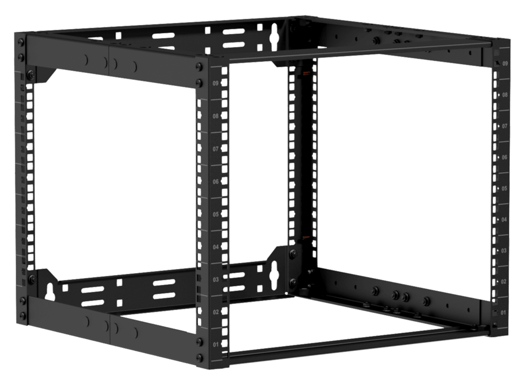 """OPR509A - 19"""" in depth adjustable open frame rack - 9 unit - 500 ~ 800mm"""