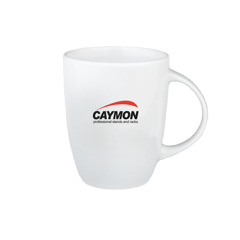 PROMO4502 - White-colored mug with 2-tone CAYMON logo