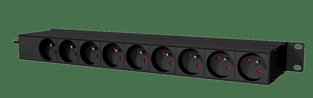 "PSR419F - 19"" power distribution - 9x French sockets - light/usb/fuse"