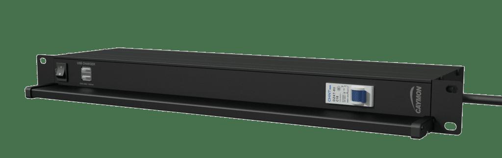 "PSR419G - 19"" power distribution - 9x German sockets - Light/USB/Fuse"