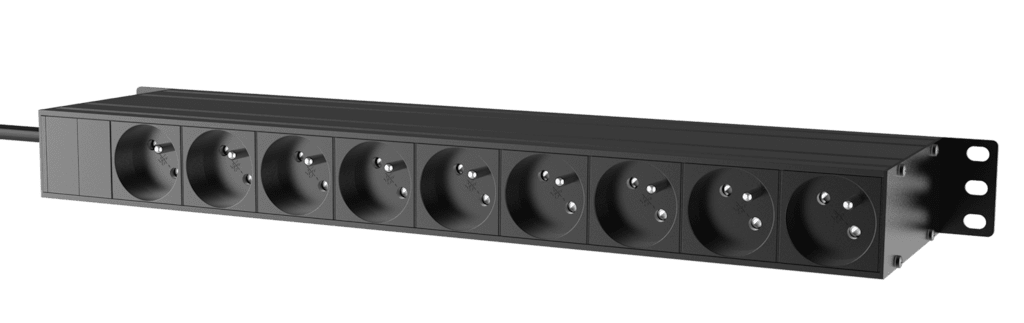 "PSR429F - 19"" power distribution - 9 x French sockets - Light/USB/Fuse"