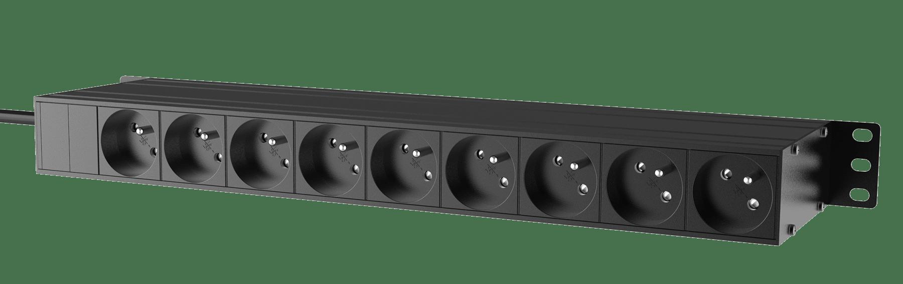 "PSR429F - 19"" power distribution - 9 x French sockets - Light/USB/Fuse"