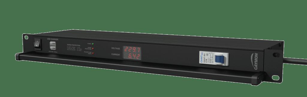 "PSR519G - 19"" power distribution - 9x German sockets - Light/USB/Fuse/Surge/Display"