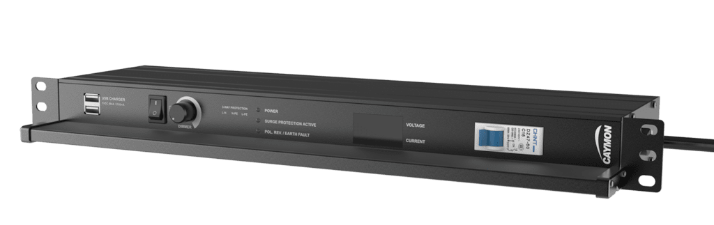 "PSR529G - 19"" power distribution - 9 x German sockets - Light/USB/Fuse/Surge/Display"