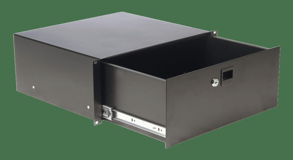 19in Rack Drawer - 4 Unit With Key Lock - Black - Steel