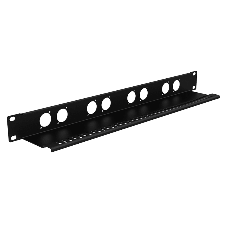 """BP108T - 19"""" blind plate with tension relief - 1HE - 8x D-size"""