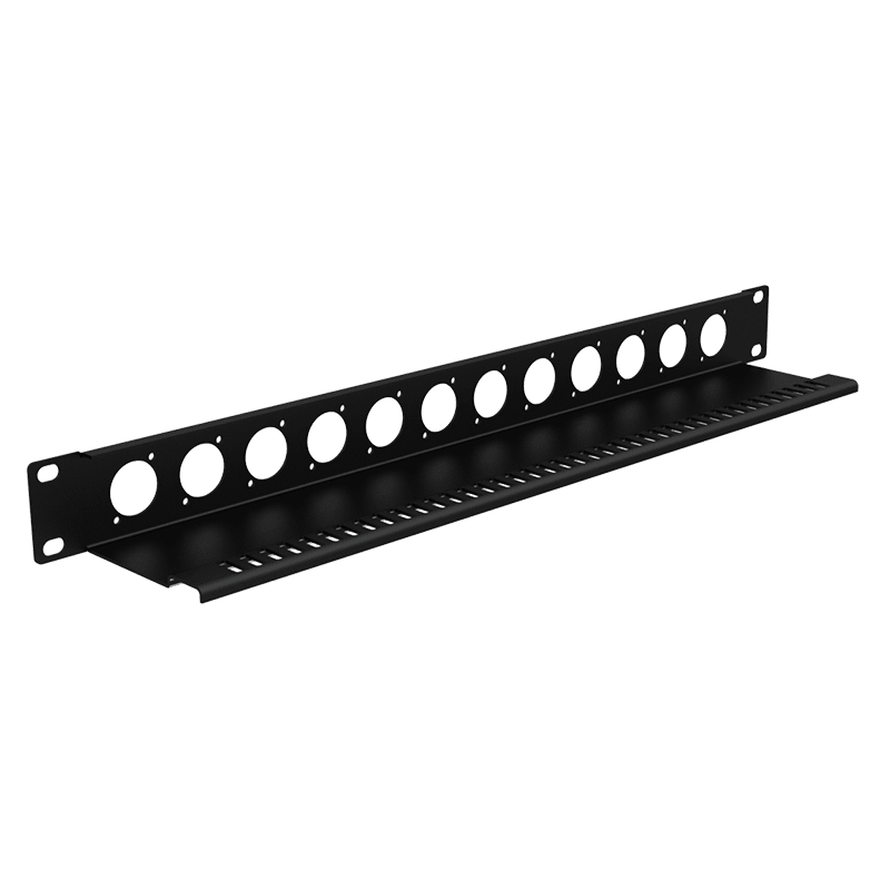 "BP112T - 19"" blind plate with tension relief - 1HE - 12x D-size"