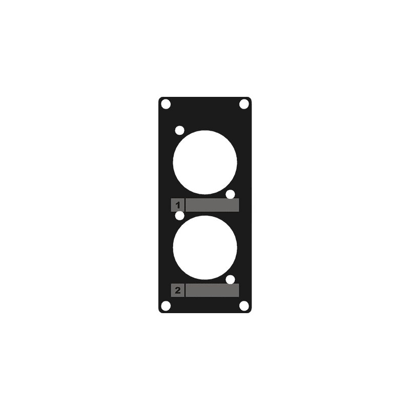 CASY105 - CASY 1 space cover plate - 2x D-size holes