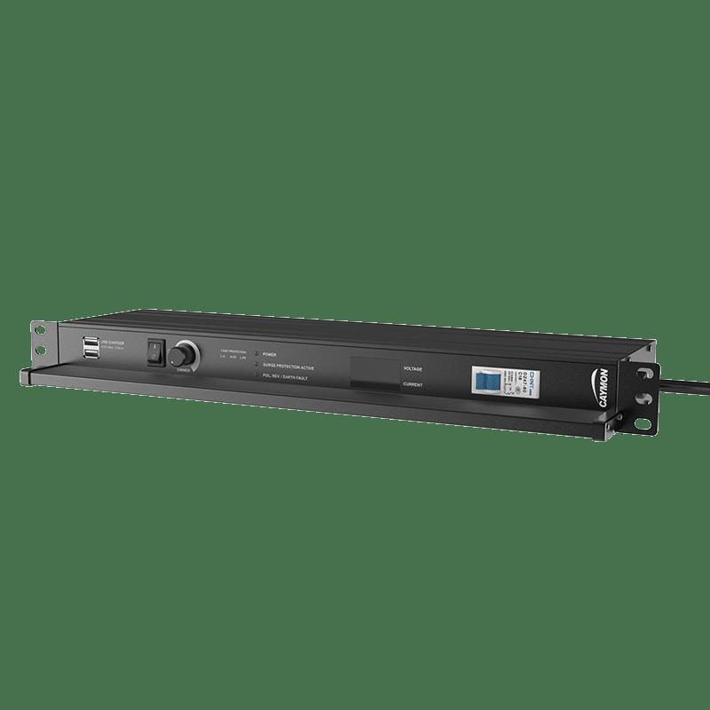 "PSR529F - 19"" power distribution - 9 x French sockets - Light/USB/Fuse/Surge/Display"
