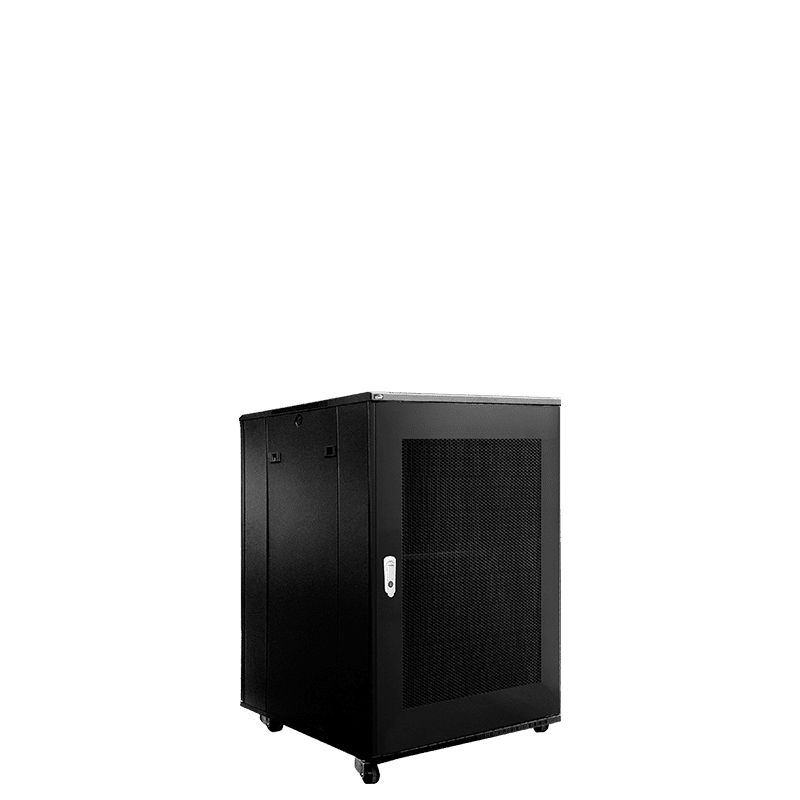 """SPR818GG - 19"""" rack cabinet - 18 units - 600mm W x 800mm D - Grill front & rear door"""