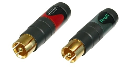 NF2C-B/2 - Pair of professional `Phono Plug` (`RCA`- or `CINCH`- type) - marked red and black.