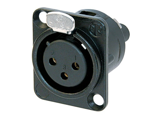 NC3FD-S-1-B - 3 pole female receptacle, D-size metal body