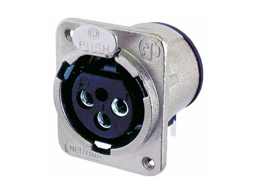 NC3FDM3-H - 3 pole female receptacle, horizontal PCB mount