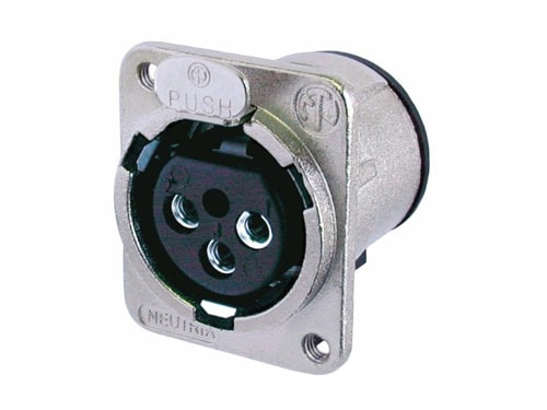 NC3FDM3-V - 3 pole female receptacle, vertical PCB mount