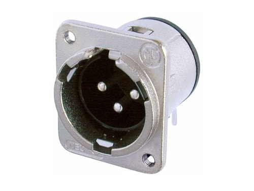 NC3MDM3-H - 3 pole male receptacle, horizontal PCB mount