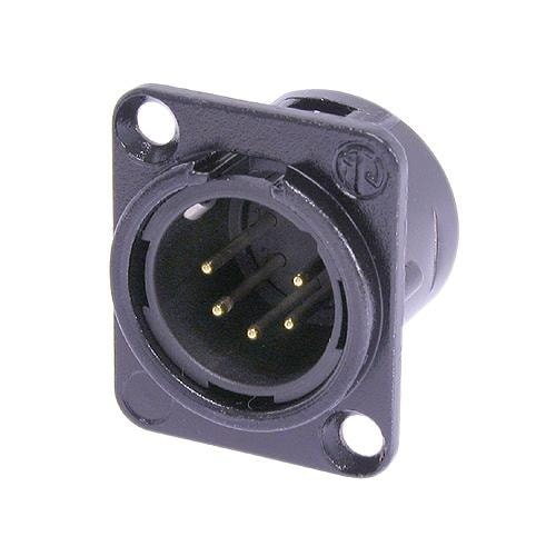NC5MD-L-1 - 5 pole male receptacle, solder cups, Nickel housing, silver contacts