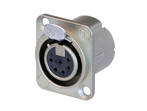 NC6FD-LX - 6 pole female receptacle, solder cups