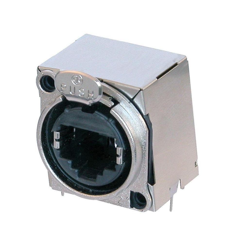 NE8FBH-S - Fully shielded, horizontal PCBmount RJ45 receptacle, B-series cutout with latch lock