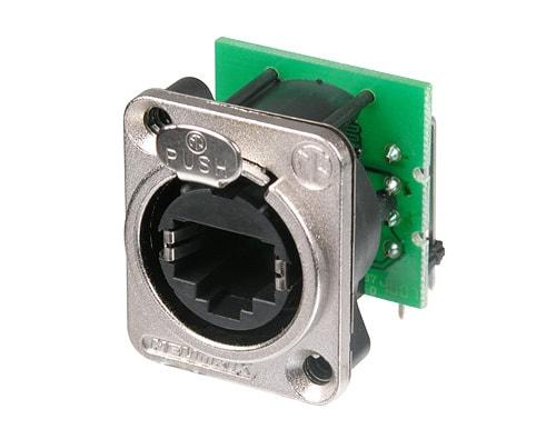 NE8FDH-C5e - Horizontal C5e component compliant PCB panel mount RJ45 receptacle,D-shape metal flange