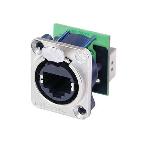NE8FDP - RJ45 feedthrough receptacle, D-shape metal flange with the latch lock