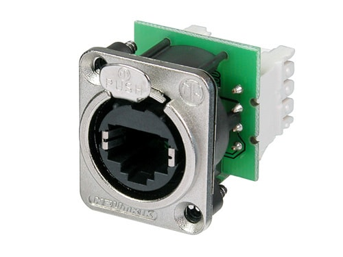 NE8FDV-Y110 - Panel mount receptacle with IDC 110 punch down terminals, D-shape metal flange with latch lock