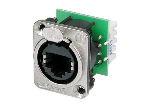 NE8FDV-YK - Panel mount receptacle with IDC punch down terminals, D-sized metal flange with latch lock