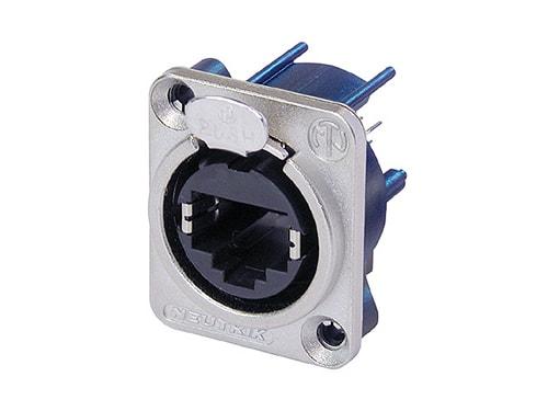 NE8FDV - Vertical PCB panel mount RJ45 receptacle, D-shape metal flange with latch lock