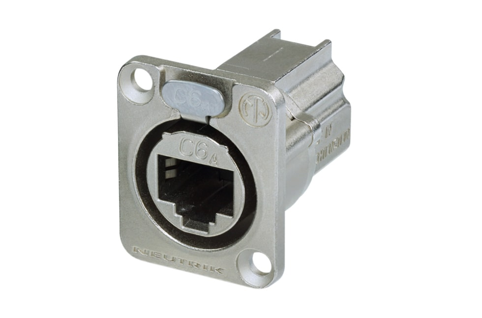 NE8FDX-P6 - D-shape CAT6A panel connector, shielded, feedthrough