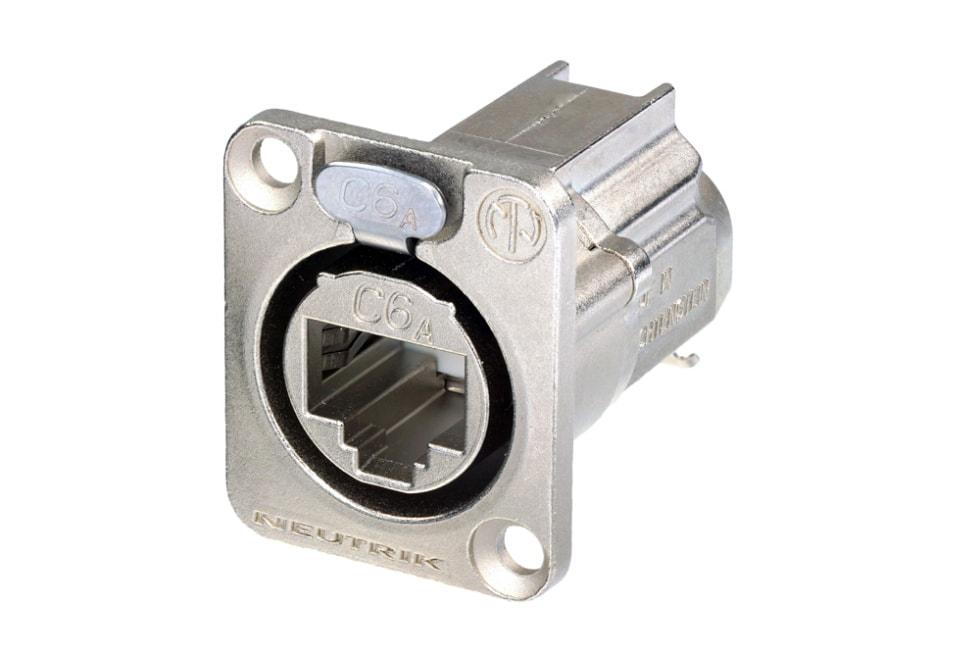 NE8FDX-Y6 - D-shape CAT6A panel connector, shielded, IDC termination