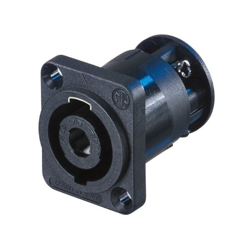 NL4MP-ST - 4 pole chassis connector, black D-size flange, countersunk thru holes, screw termination