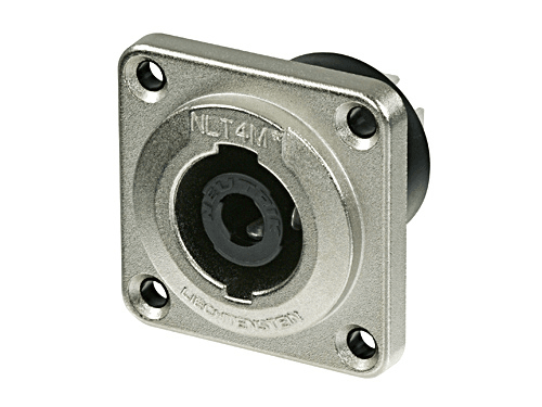 """NLT4MP - 4 pole male chassis connector, metal housing, solder or ¼"""" flat tabs"""