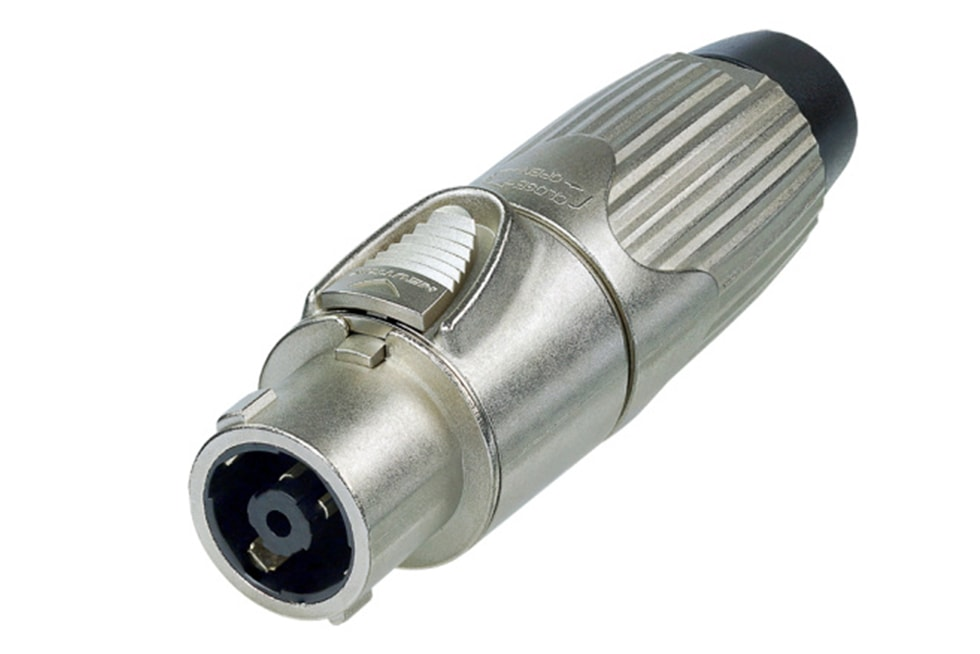 NLT8FX - 8-pole female cable connector, Nickel housing, chuck type strain relief, solder
